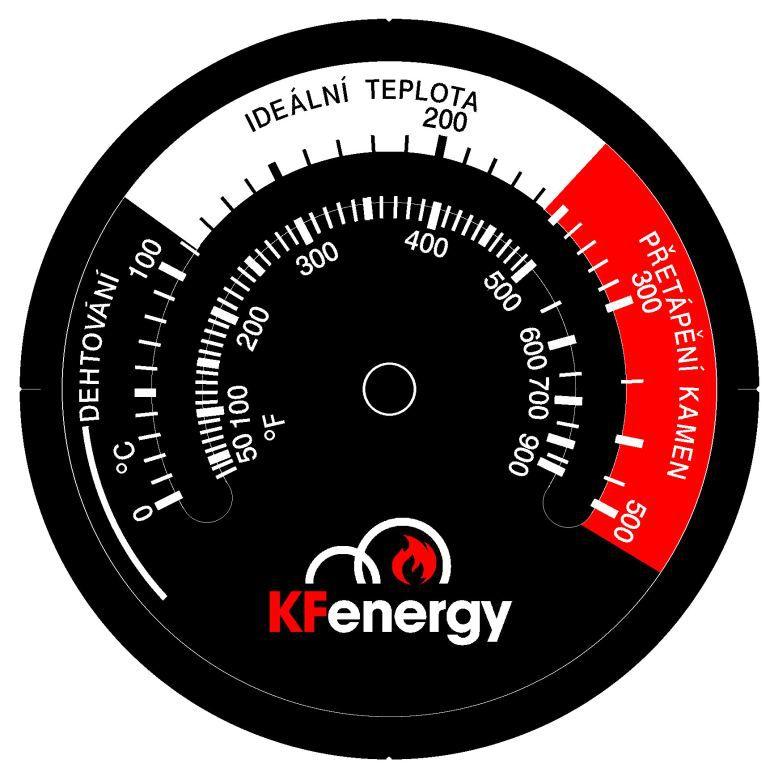 KFenergy magnetický teploměr pro krbová kamna a vložky na dřevo