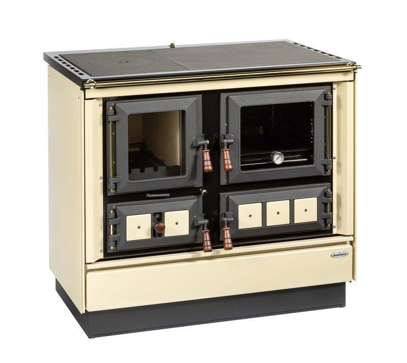 sporák KVS Moravia KLAUDIE VSP 9112.3390 OP béžový, titanové (zlaté) doplňky, dřevěná držadla, smaltovaný černý rám plotny, ocelová plotna dělená stříkaná DOPRAVA A KOUŘOVODY ZDARMA