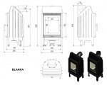 KRATKI Blanka 8 kW rovné sklo teplovzdušná krbová vložka s externím přívodem vzduchu DOPRAVA ZDARMA