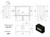 KRATKI JAS 6 kW ocelová krbová kazeta s rovným prosklením DOPRAVA ZDARMA