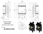 Moderní vysoká krbová vložka KRATKI Blanka 8 kW BS pravé+levé prosklení bez sloupku DOPRAVA ZDARMA
