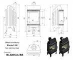Moderní vysoká krbová vložka KRATKI Blanka 8 kW BS levé prosklení bez sloupku DOPRAVA ZDARMA